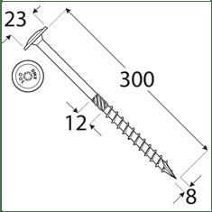 VKP STEEL DRVTK 8x300 TORX konštrukčný vrut