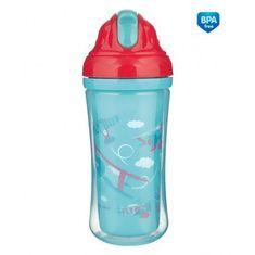 Canpol babies Sportovní láhev se silikonovou slámkou LETADLA 260 ml