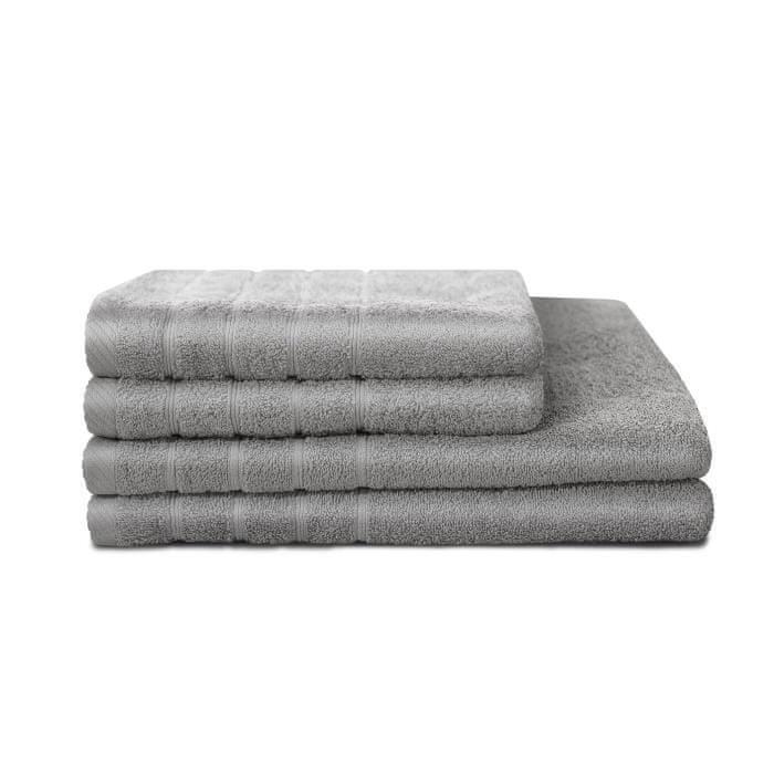 Lovely Home sada 4 ručníků, 2 ručníky 50x90 cm a 2 osušky 70x130, světle šedá