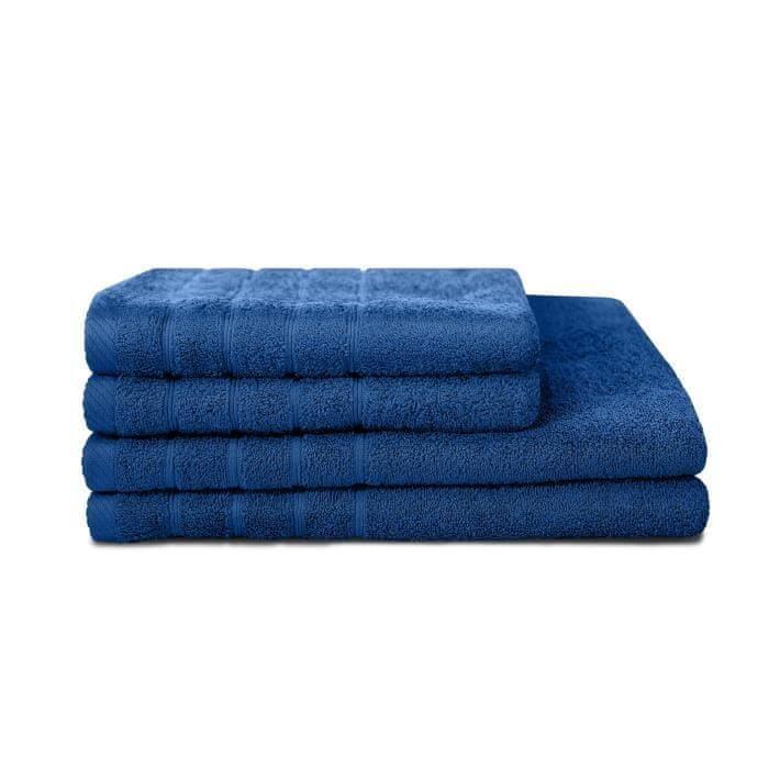 Lovely Home sada 4 ručníků, 2 ručníky 50x90 cm a 2 osušky 70x130, modrá