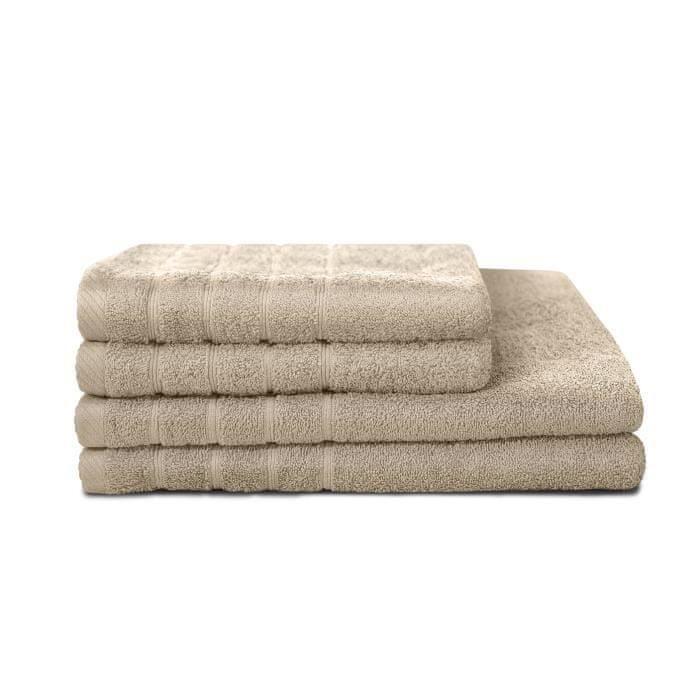 Lovely Home sada 4 ručníků, 2 ručníky 50x90 cm a 2 osušky 70x130, béžová