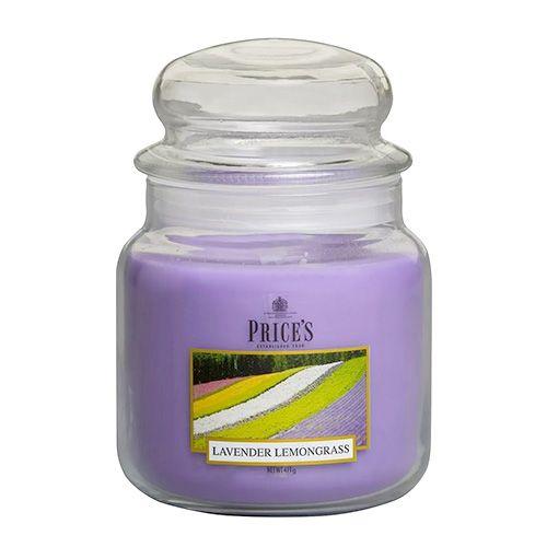 Price's Candles Sveča v steklenem kozarcu Sveče, Sivka in limonska trava, 411 g