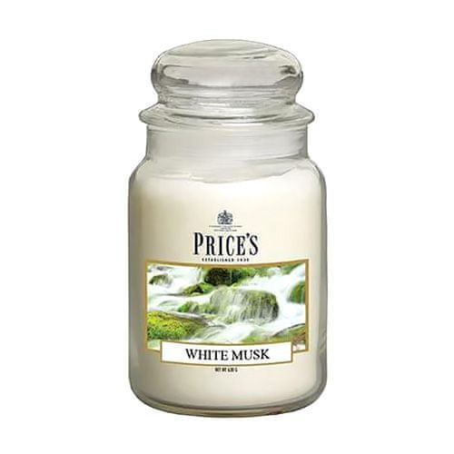 Price's Candles Sveča v steklenem kozarcu Sveče, Beli mošus, 630 g