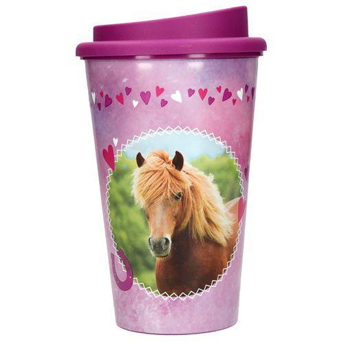 Horses Dreams Skodelica za pitje Konji sanje, Rjavi konj, vijoličen, 350 ml