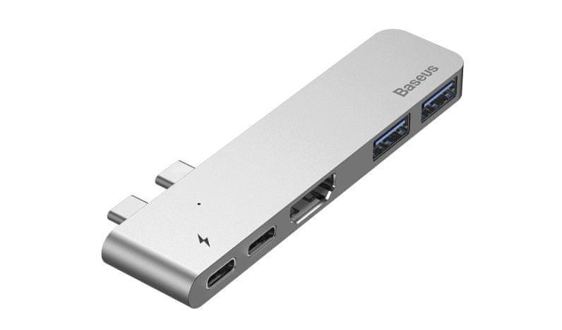 BASEUS HUB dokovací stanice Dual USB-C pro Mac Book Pro 2016/2017, tmavě šedá (CAHUB-B0G)