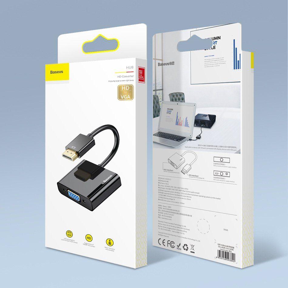 BASEUS Konvertor HDMI 4K na VGA, černá (CAHUB-BH01) - zánovní