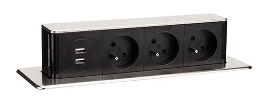 Solight USB výsuvný blok zásuvek, 3 zásuvky, prodlužovací přívod 1,9 m, obdélníkový tvar, stříbrný, PP126