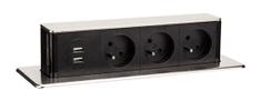 Solight USB výsuvný blok zásuviek, 3 zásuvky, predlžovací prívod 1,9 m, obdĺžnikový tvar, strieborný, PP126 - zánovné