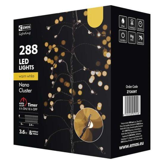 Emos 288 LED Cluster Nano grozd svetlobna veriga, 2,4 m, IP44, toplo bela, s časovnikom, črna