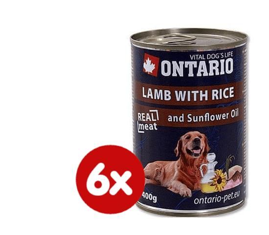 Ontario mokra karma dla psa Jagnięcina, ryż i olej słonecznikowy - 6 x 400g