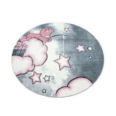 Jutex Detský koberec Kids 580 ružový kruh 1.20 x 1.20