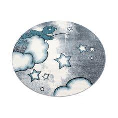 Jutex Detský koberec Kids 580 modrý kruh 1.20 x 1.20