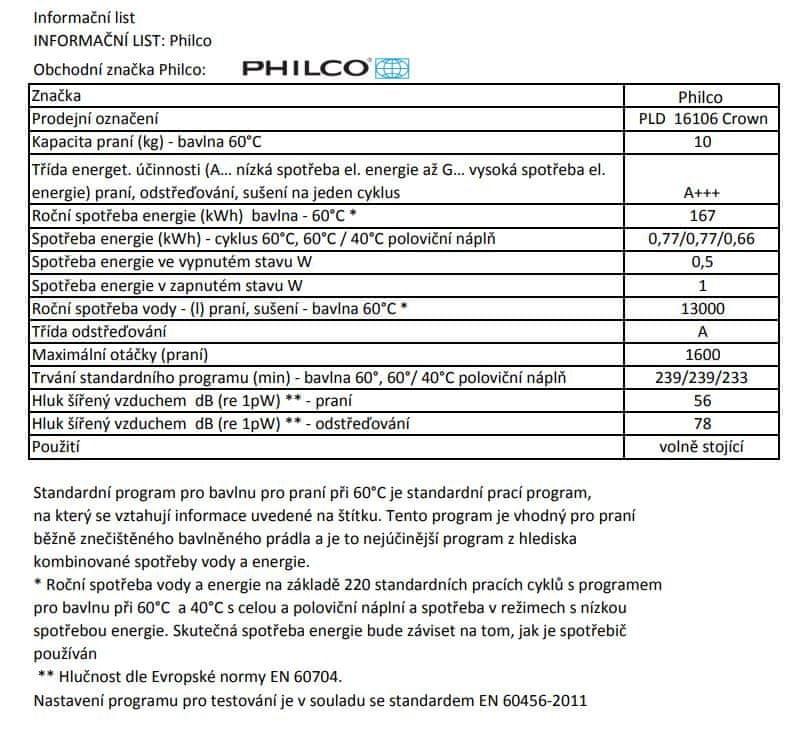 Philco pračka PLD 16106 Crown + bezplatný servis 36 měsíců