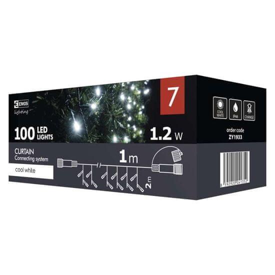 Emos povezovalni niz, zavesa, 100 LED, 1x 2 m, hladna bela