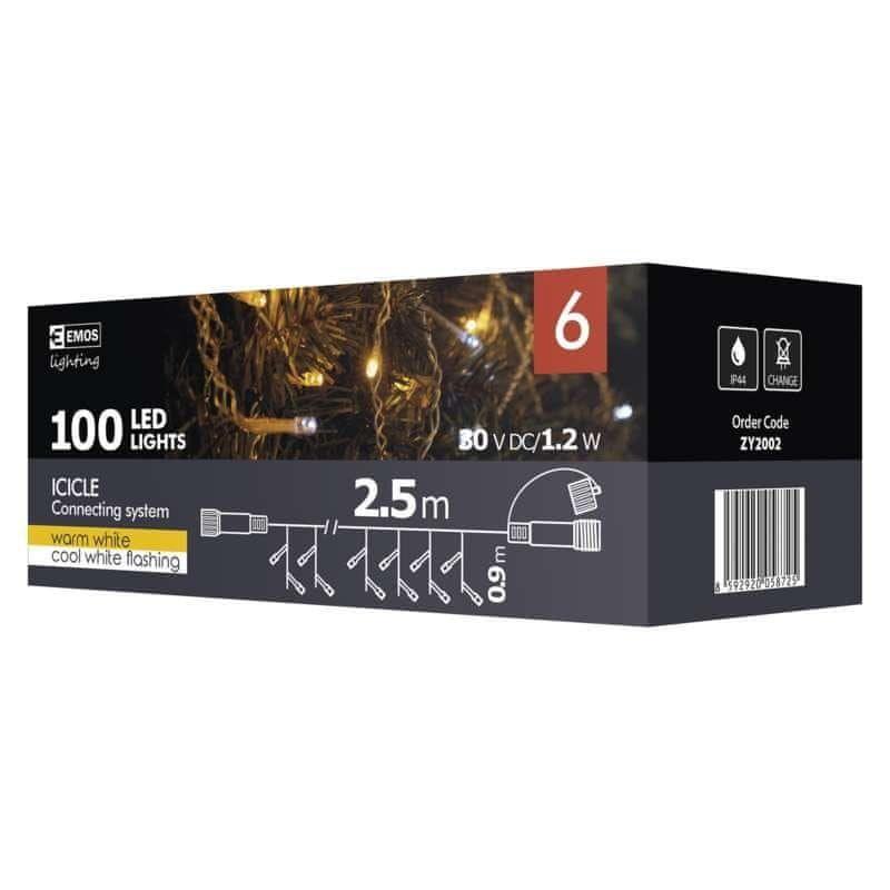 Emos Spojovací Standard LED řetěz blikající – rampouchy, 2,5m, teplá/studená bílá