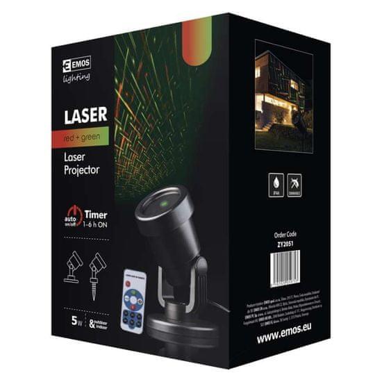 Emos laserski projektor, mreža, zelena/rdeča, daljinski upravljalnik