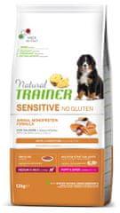 TRAINER Natural Sensitive No gluten Puppy&Jun Mini briketi za mladiče, losos, 12 kg