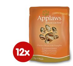 Applaws mokra hrana za mačke s piščančjimi prsmi in bučko, 12x70 g