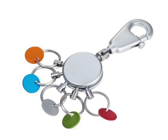 Troika KYR61 / MC KYR61 / MC PATENT / Color - Kolorowy brelok z karabińczykiem z 5 pierścieniami
