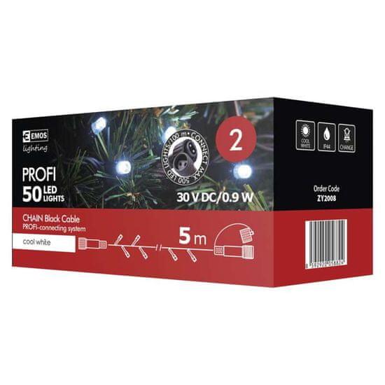 Emos PROFI 50 LED povezovalni niz, 5 m, IP44, hladno bela, črn