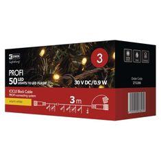 Emos Profi 50 LED povezovalni niz, ledene sveče, 3 m, IP44, toplo bela, utripajoč, črn - Odprta embalaža