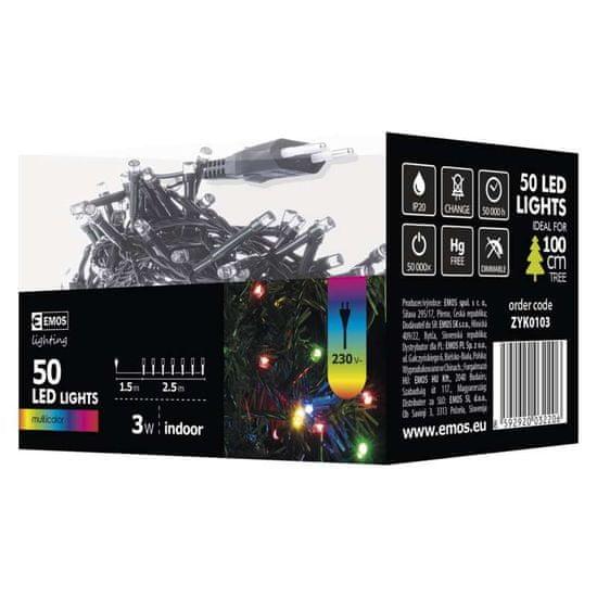 EMOS božićne lampice, 50 LED, 2,5 m, šarene