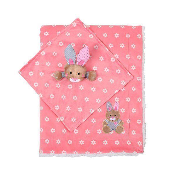 BABY ONO Oboustranná minky deka s usínáčkem - růžová
