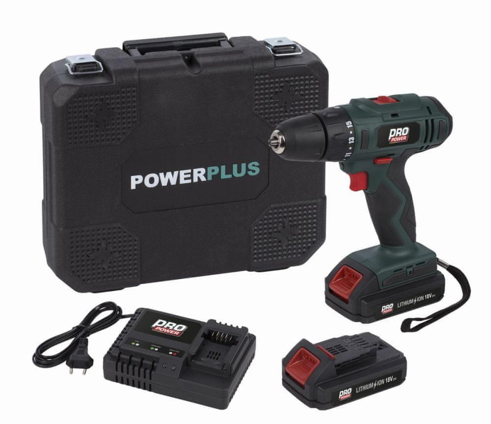 PowerPlus POWP8040 - Aku šroubovák / vrtačka 18V 2,0Ah LI-ION 2BAT
