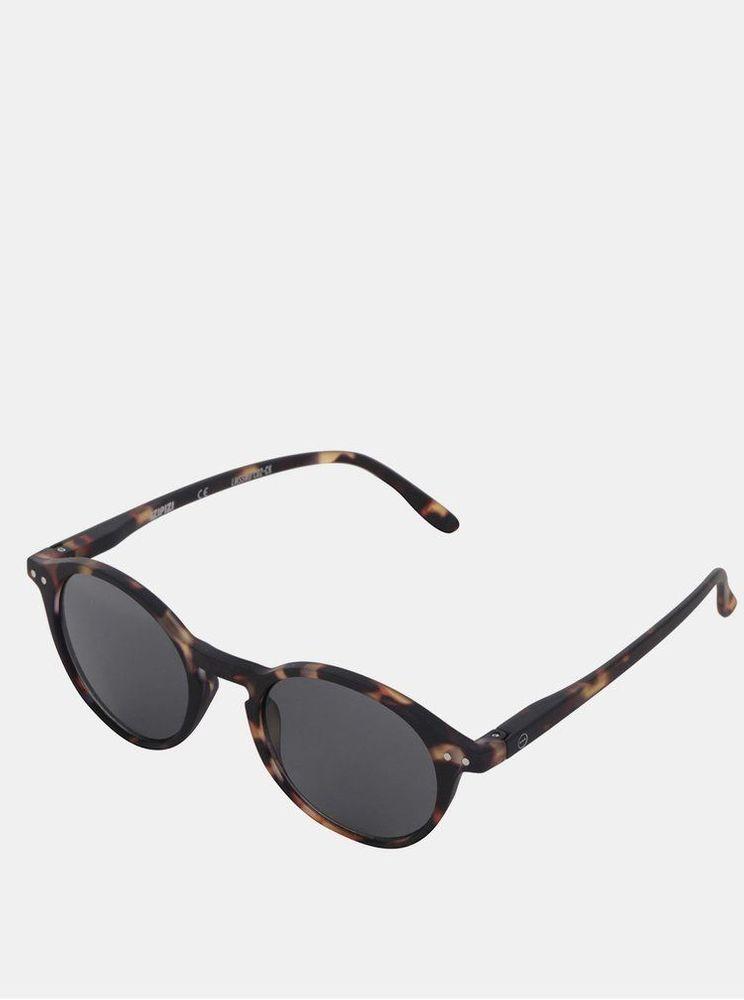 IZIPIZI hnědo-černé vzorované sluneční brýle s černými skly #D