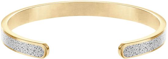 Gravelli Pevný ocelový náramek s betonem Fusion Thin zlatá/šedá GJBWYGG101UN
