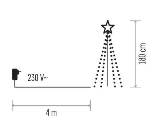 Emos božična dekoracija, drevo, kovinsko, 180 LED, 180 cm, zunanja, toplo bela, časovnik - Odprta embalaža1