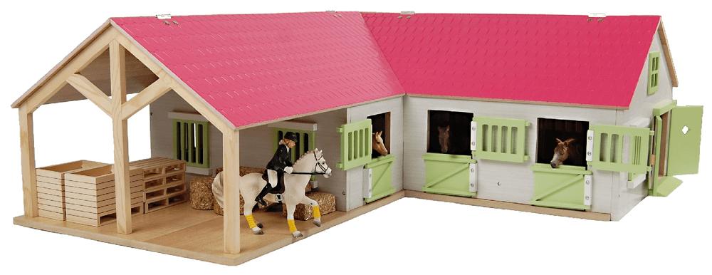 Mikro hračky Stáj pro koně dřevěná 68 x 77 x 27 cm
