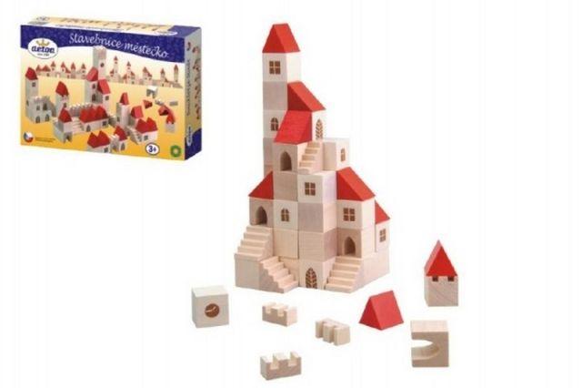 Detoa Stavebnice kostky 2,5cm dřevo městečko 100 dílků v krabici 29x19x6cm