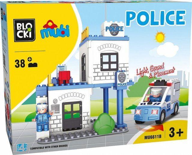 Blocki Blocki Mubi stavebnice Policejní stanice typ LEGO DUPLO 38 dílů se světlem a zvukem