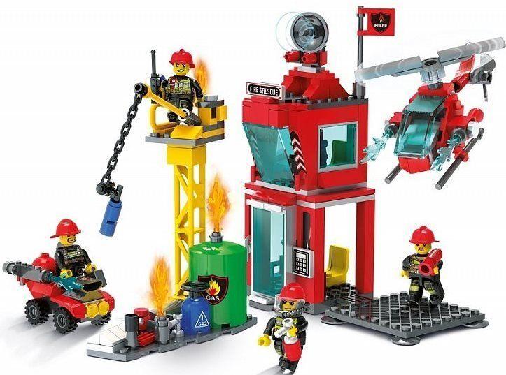 Blocki Blocki stavebnice Hasičská stanice a zásah u požáru 4v1 typ LEGO 303 dílů