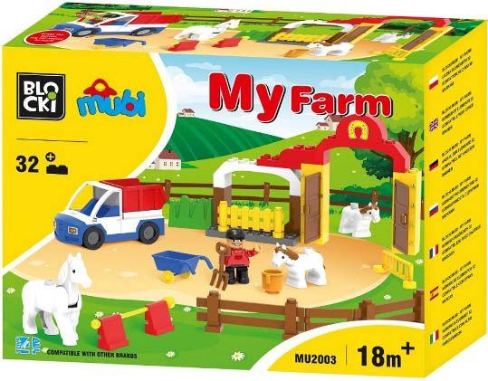 Blocki Blocki Mubi stavebnice Farma s koníky typ LEGO DUPLO 32 dílů