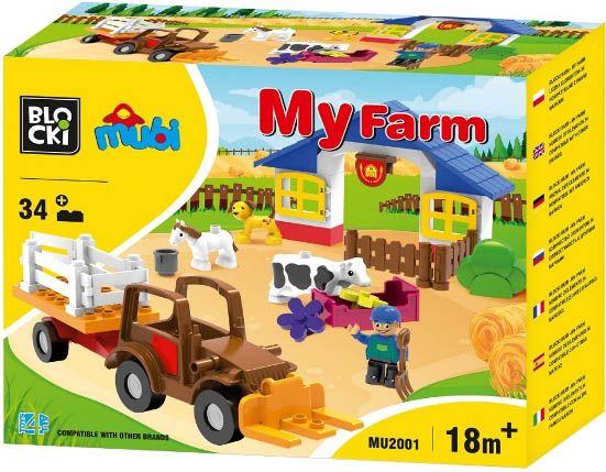 Blocki Blocki Mubi stavebnice Farma s traktorem typ LEGO DUPLO 34 dílů