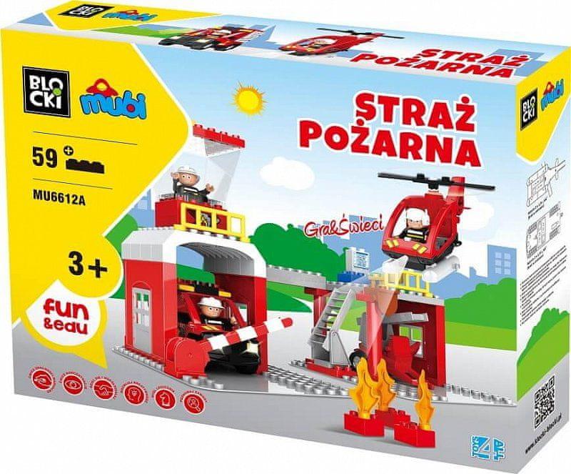 Blocki Blocki Mubi stavebnice Hasičská stanice typ LEGO DUPLO 59 dílů se světlem a zvukem
