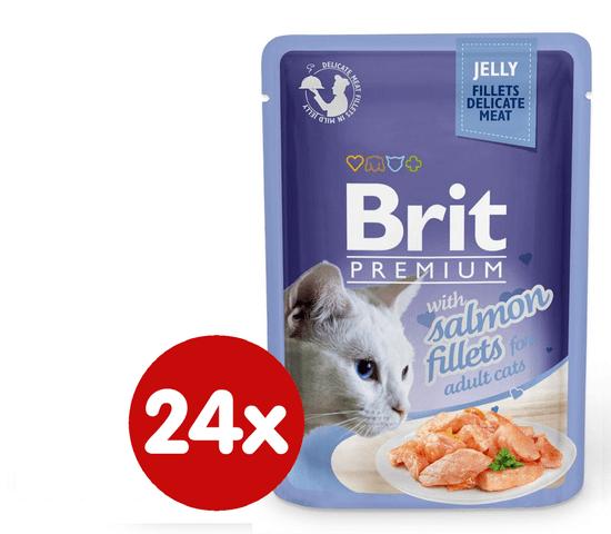 Brit Premim fileji lososa v želeju, za mačke, 85 g, 24 kos