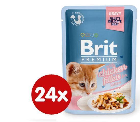 Brit Premium fileji piščanca v želeju, za mačje mladiče, 85 g, 24 kos