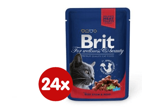 Brit Premium mokra hrana za mačke, govedina in grah, 100 g, 24 kos
