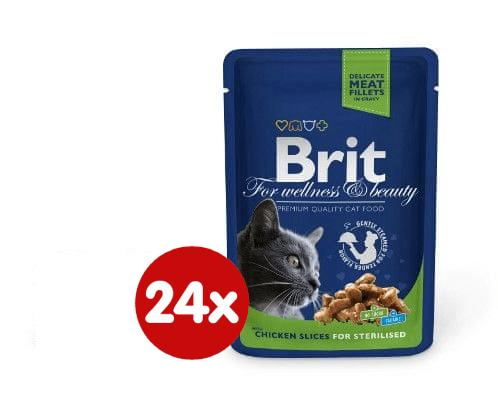 Brit Premium Cat Pouches Chicken Slices for Sterilised 24 x 100g