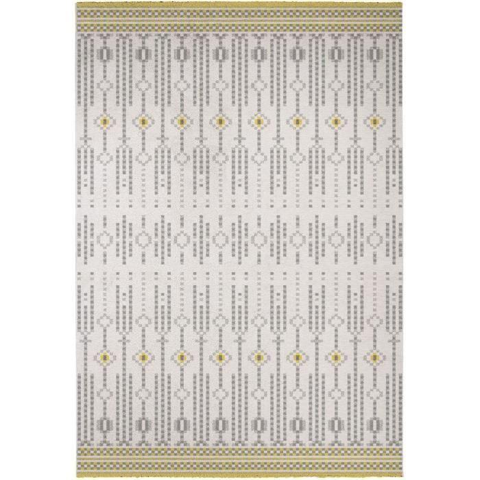 Cdiscount kusový koberec Madrid 120x170cm, bílá/žlutá