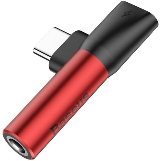 BASEUS 90° adaptér USB-C / USB-C + 3.5 mm jack (červeno-čierna), CATL41-91