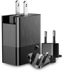 BASEUS Duke potovalni polnilni adapter (EU / UK / US), 3.4 A, črn