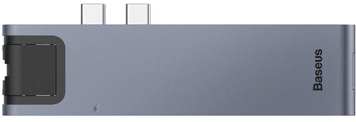 BASEUS HUB dokovací stanice Dual USB-C 7v1 pro Mac Book Pro 2016/2017 (šedá), CAHUB-L0G