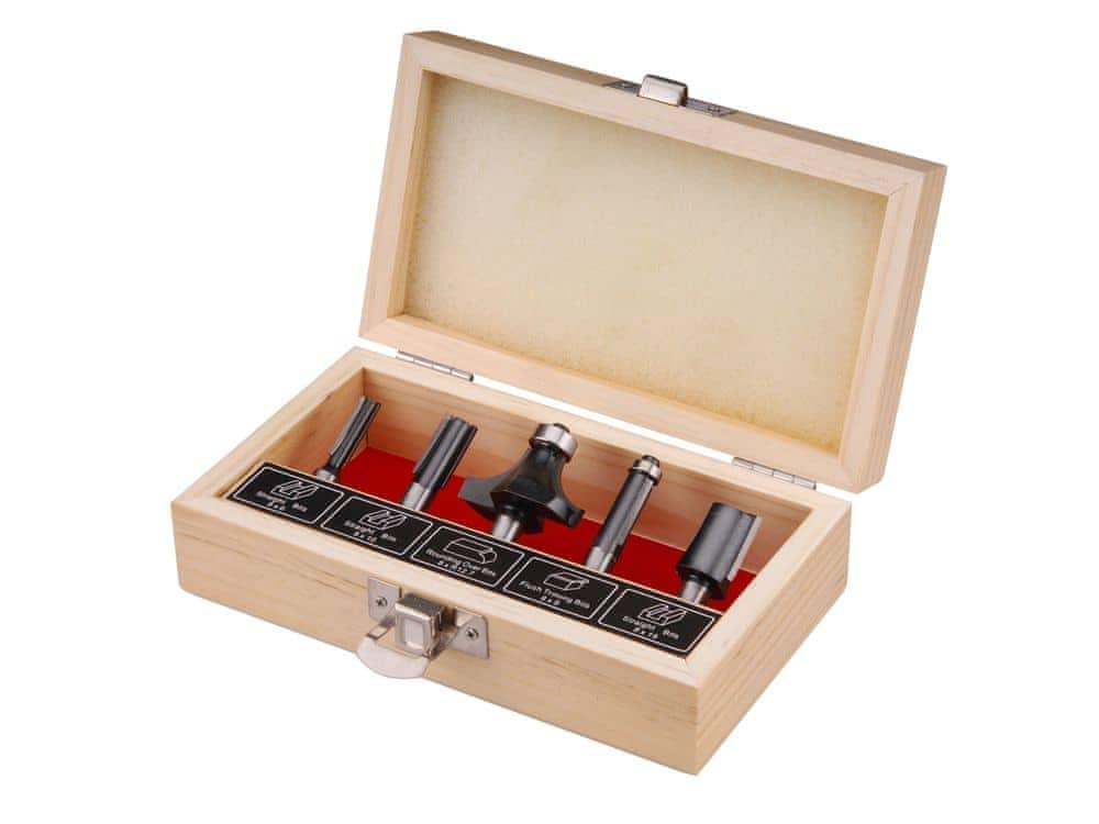 Extol Craft Frézy tvarové do dřeva s SK plátky, sada 5ks, stopka 8mm, v dřevěné kazetě