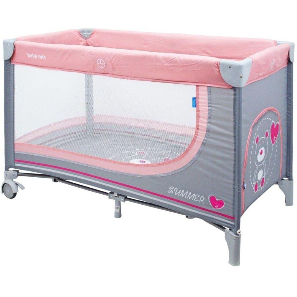 Baby Mix Dětská cestovní postýlka Baby Mix Medvídek pink