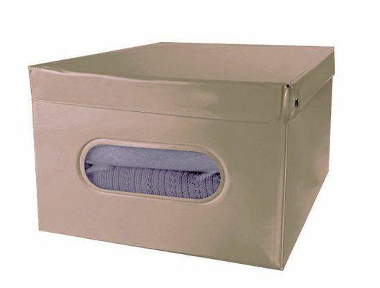 Compactor SMART 4 skládací úložná krabice s víkem, taupe PVC - 50 x 40 x 25 cm