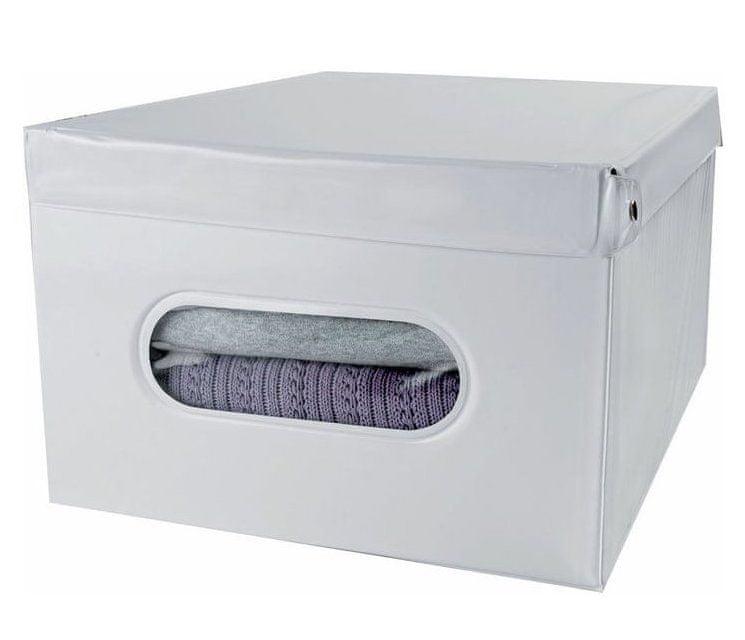 Compactor SMART 5 skládací úložná krabice s víkem, bílá PVC - 50 x 42 x 28 cm